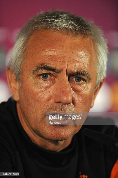 In this handout image provided by UEFA Coach Bert van Marwijk of Netherlands during a UEFA EURO 2012 press conference at the Metalist Stadium on June...