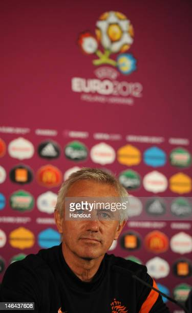 In this handout image provided by UEFA Coach Bert van Marwijk of Netherlands talks to the media during a UEFA EURO 2012 press conference at the...