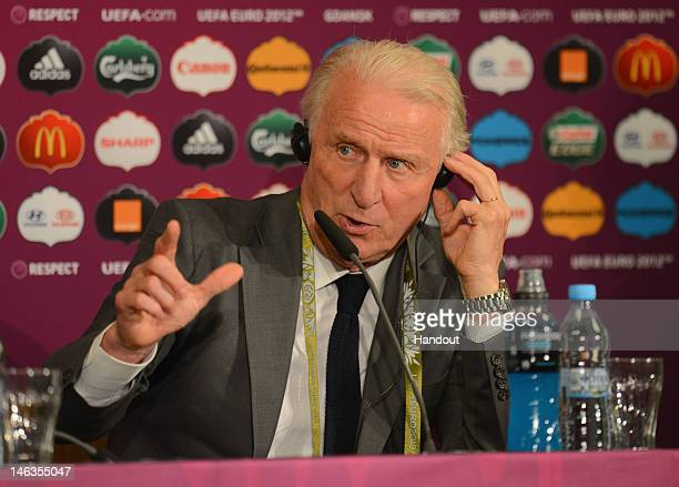In this handout image provided by UEFA, Coach Giovanni Trapattoni of Republic of Ireland talks to the media after the UEFA EURO 2012 Group C match...