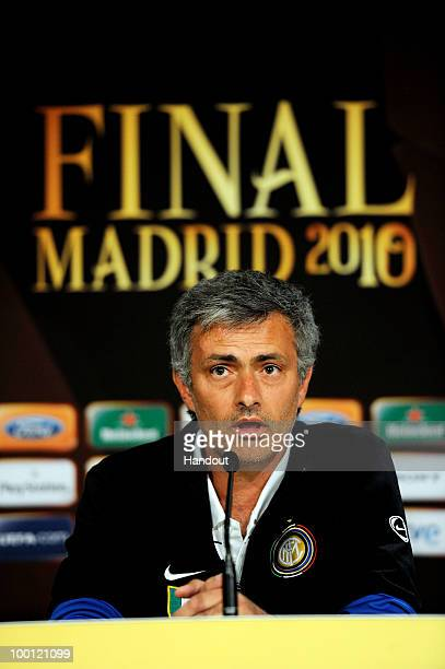 In this handout image provided by UEFA coach Jose Mourinho answers questions during the Inter Milan Press Conference prior to the UEFA Champions...