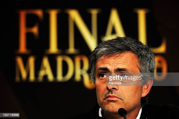 In this handout image provided by UEFA coach Jose Mourinho looks on during the Inter Milan Press Conference prior to the UEFA Champions League Final...