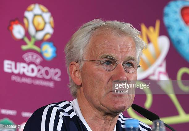 In this handout image provided by UEFA Coach Morten Olsen of Denmark speaks during a press conference ahead of their UEFA EURO 2012 Group B match...