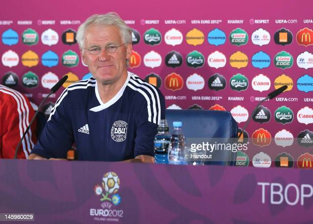 In this handout image provided by UEFA Coach Morten Olsen of Denmark attends a press conference ahead of their UEFA EURO 2012 Group B match against...