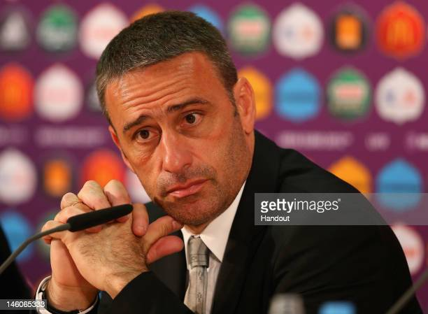 In this handout image provided by UEFA, Coach Paulo Bento of Portugal faces the media during a press conference after the UEFA EURO 2012 Group B...