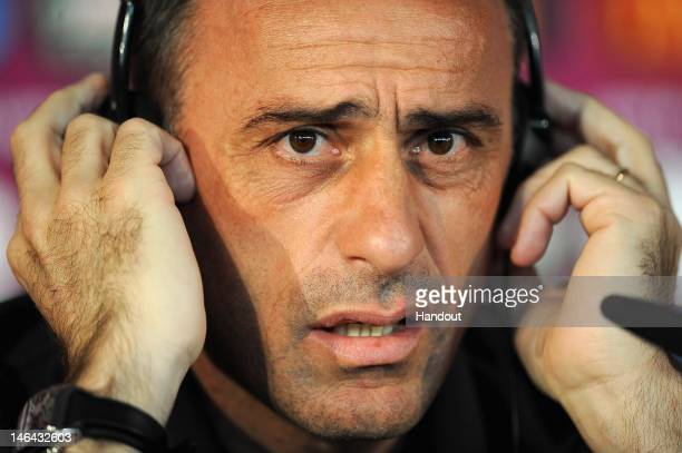 In this handout image provided by UEFA Coach Paulo Bento of Portugal talks to the media during a UEFA EURO 2012 press conference at the Metalist...