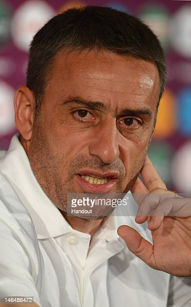 In this handout image provided by UEFA, Coach Paulo Bento of Portugal talks to the media during a press conference after the UEFA EURO 2012 Group B...