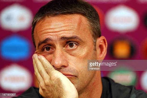 In this handout image provided by UEFA Coach Paulo Bento of Portugal speaks to the media during a UEFA EURO 2012 press conference at Donbass Arena on...