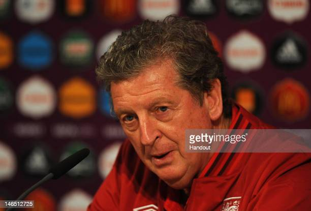 In this handout image provided by UEFA Coach Roy Hodgson of England attends a UEFA EURO 2012 press conference at the Donbass Arena on June 18 2012 in...