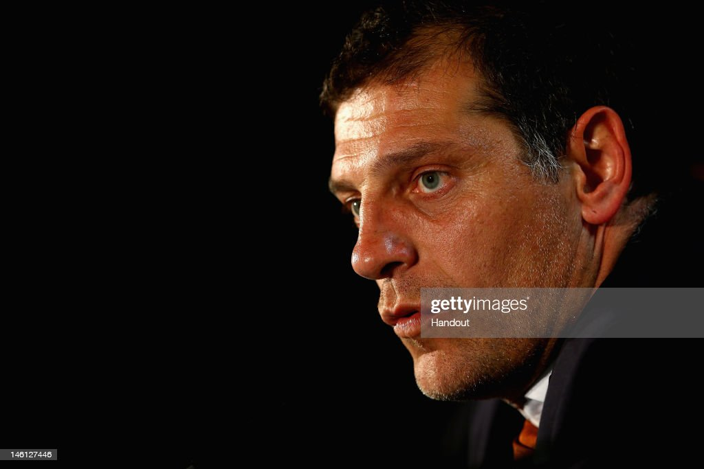 In this handout image provided by UEFA, Coach Slaven Bilic of Croatia talks to the press during a UEFA EURO 2012 press conference after the UEFA 2012 Group C match between Republic of Ireland and Croatia on June 10, 2012 in Poznan, Poland.