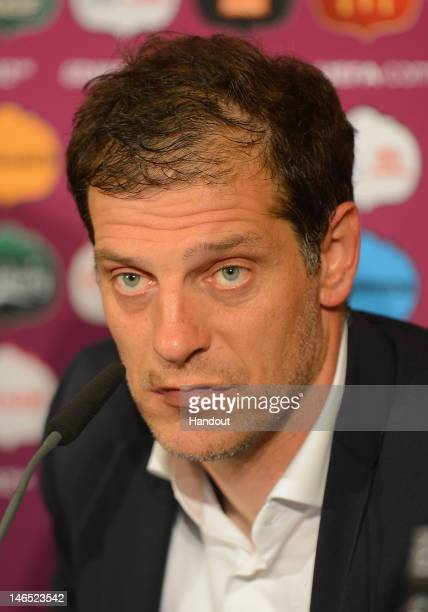 In this handout image provided by UEFA Coach Slaven Bilic of Croatia talks to the media after the UEFA EURO 2012 Group C match between Croatia and...