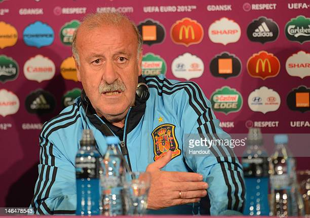 In this handout image provided by UEFA Coach Vicente del Bosque of Spain talks to the media during a UEFA EURO 2012 press conference at the Municipal...