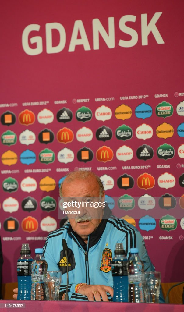 In this handout image provided by UEFA, Coach Vicente del Bosque of Spain talks to the media during a UEFA EURO 2012 press conference at the Municipal Stadium on June 17, 2012 in Gdansk, Poland.