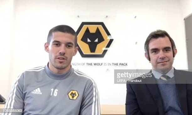 in this handout image provided by UEFA Conor Coady of Wolverhampton Wanders speaks during the UEFA Europa League Draw at The UEFA Headquarters on...