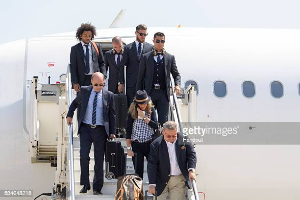In this handout image provided by UEFA Cristiano Ronaldo of Real Madrid arriving at Malpensa airport ahead of the UEFA Champions League Final on May...
