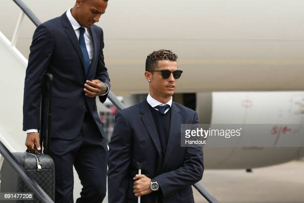 In this handout image provided by UEFA Cristiano Ronaldo of Real Madrid arrives prior to the UEFA Champions League Final between Juventus and Real...