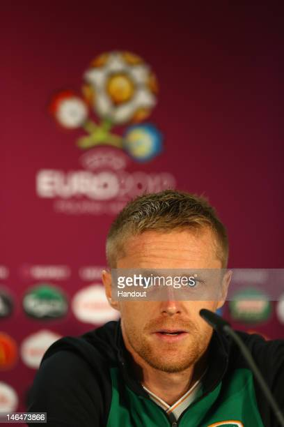 In this handout image provided by UEFA, Damien Duff of Republic of Ireland talks to the media during a UEFA EURO 2012 press conference ahead of the...