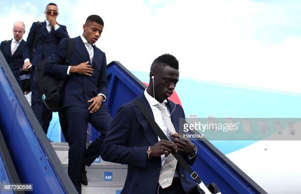 In this handout image provided by UEFA Davinson Sanchez of Ajax arrives with team mates ahead of the UEFA Europa League Final between Ajax and...