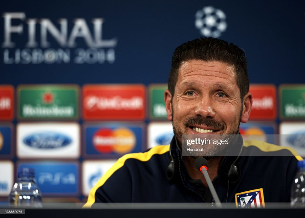In this handout image provided by UEFA, Diego Simeone, coach of Club Atletico de Madrid attends a press conference ahead of the UEFA Champions League final against Real Madrid at Estadio da Luz on May 23, 2014 in Lisbon, Portugal.