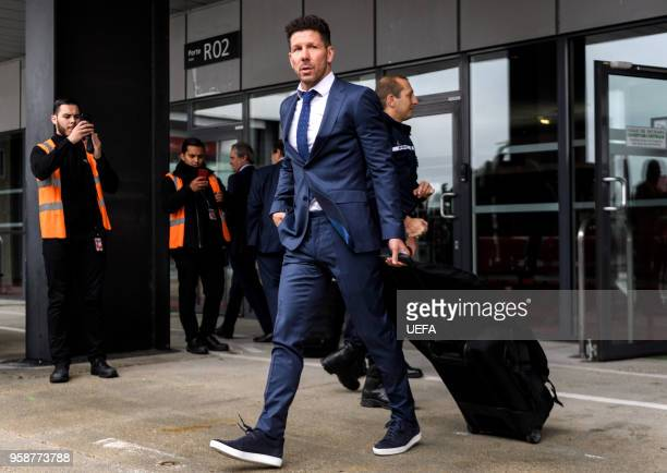 In this handout image provided by UEFA Diego Simeone Coach of Atletico Madrid arrives ahead of the the UEFA Europa League Final against Olympique de...