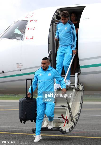 In this handout image provided by UEFA Dimitri Payet of Olympique de Marseille arrives ahead of the the UEFA Europa League Final against Club...