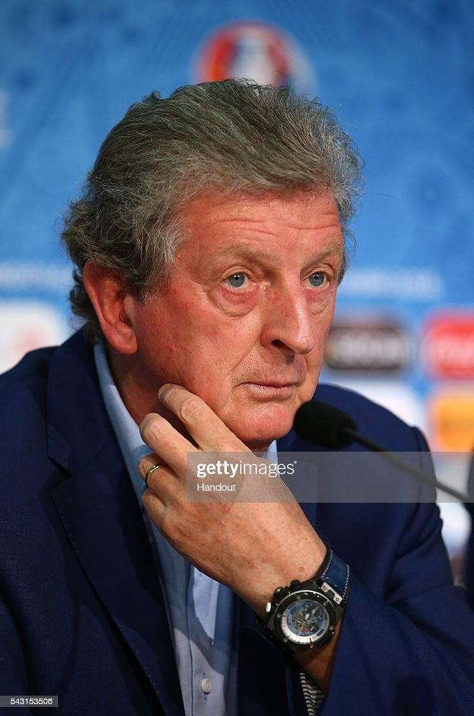 In this handout image provided by UEFA, England manager Roy Hodgson faces the media during the England press conference at Allianz Riviera Stadium on June 26, 2016 in Nice, France.
