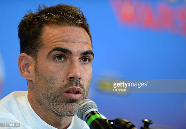 In this handout image provided by UEFA Fernando Navarro of Sevilla attends a FC Sevilla press conference on the eve of the UEFA Europa League Final...