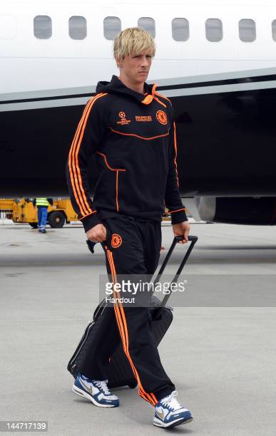 In this handout image provided by UEFA Fernando Torres of Chelsea arrives with the team ahead of the UEFA Champions League Final between Bayern...