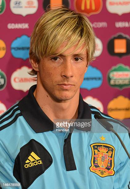 In this handout image provided by UEFA Fernando Torres of Spain talks to the media during a UEFA EURO 2012 press conference at the Municipal Stadium...