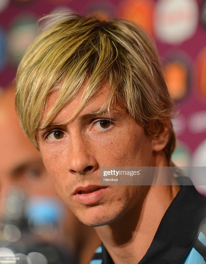 In this handout image provided by UEFA, Fernando Torres of Spain talks to the media during a UEFA EURO 2012 press conference at the Municipal Stadium on June 17, 2012 in Gdansk, Poland.