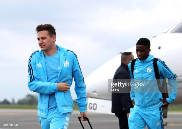 In this handout image provided by UEFA Florian Thauvin of Marseille arrives ahead of the the UEFA Europa League Final against Club Atletico de Madrid...