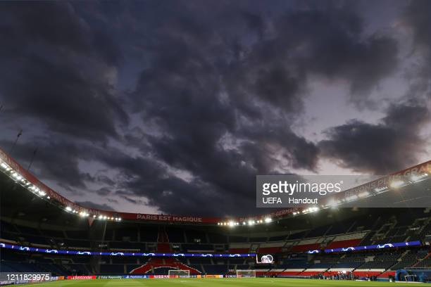 In this handout image provided by UEFA, General view inside the stadium prior to the UEFA Champions League round of 16 second leg match between Paris...