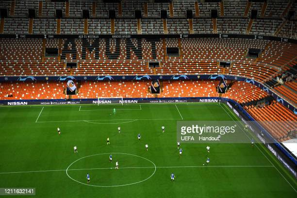 In this handout image provided by UEFA, General view inside the stadium during the UEFA Champions League round of 16 second leg match between...