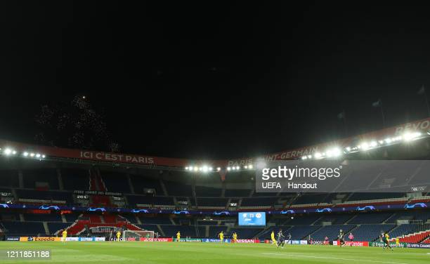 In this handout image provided by UEFA, General view inside the stadium during the UEFA Champions League round of 16 second leg match between Paris...