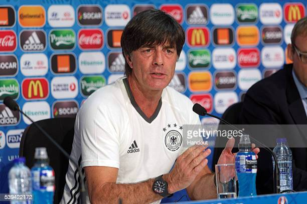 In this handout image provided by UEFA Germany Manager Joachim Loew talks during the Germany press conference on June 11 2016 in Lille France