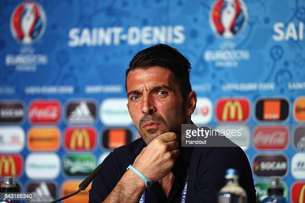 In this handout image provided by UEFA Gianluigi Buffon of Italy attends a press conference at Stade de France on June 26 2016 in Paris France