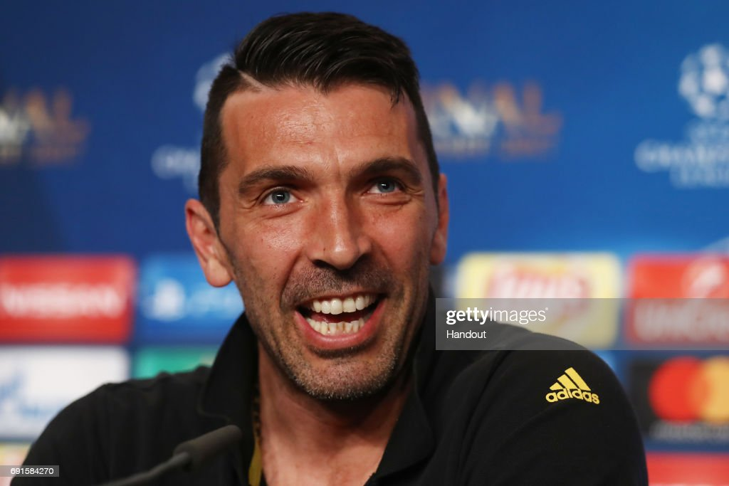 In this handout image provided by UEFA, Gianluigi Buffon of Juventus talks during a press conference prior to the UEFA Champions League Final between Juventus and Real Madrid at the National Stadium of Wales on June 2, 2017 in Cardiff, Wales.