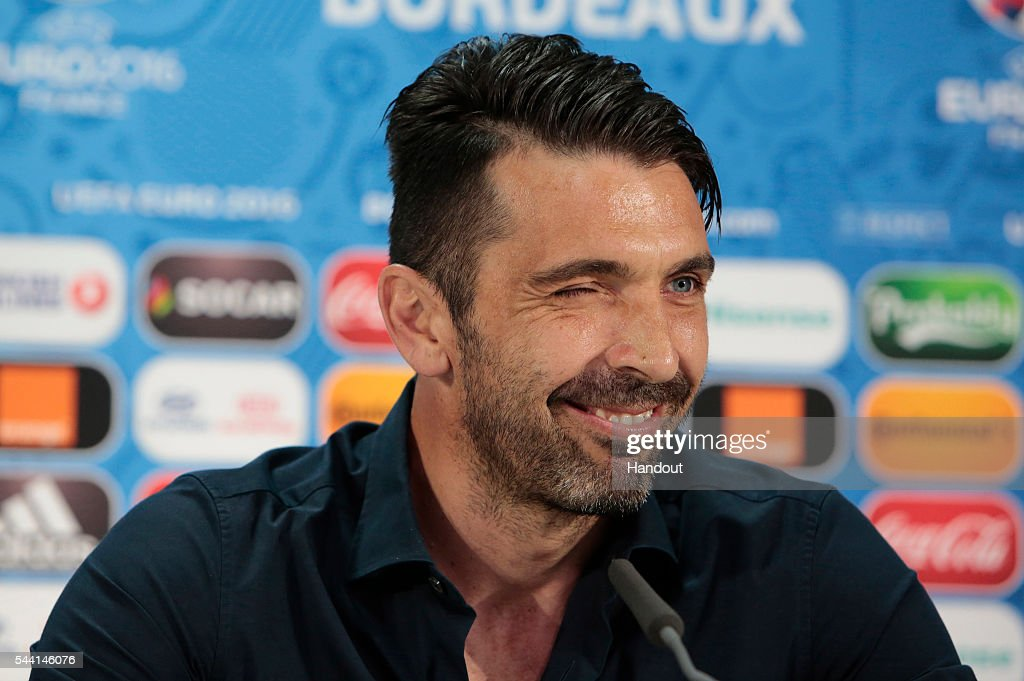 In this handout image provided by UEFA, Gianluigi Buffon speaks to the media during the Italy press conference on July 1, 2016 in Bordeaux, France.
