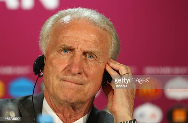 In this handout image provided by UEFA, Giovanni Trapattoni of Ireland talks to the media during a UEFA EURO 2012 press conference after the UEFA...