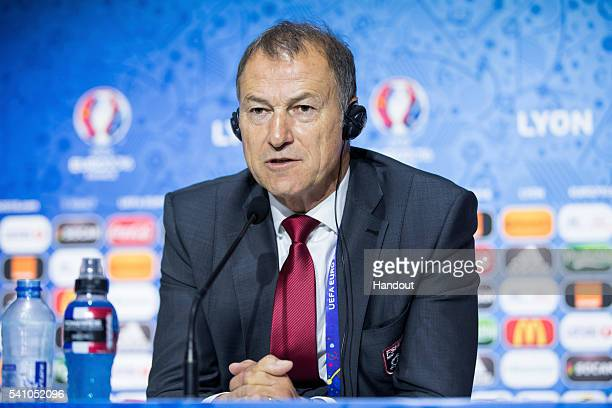 In this handout image provided by UEFA Head coach Giovanni de Biasi of Albania attends a press conference on June 18 2016 in DecinesCharpieu France