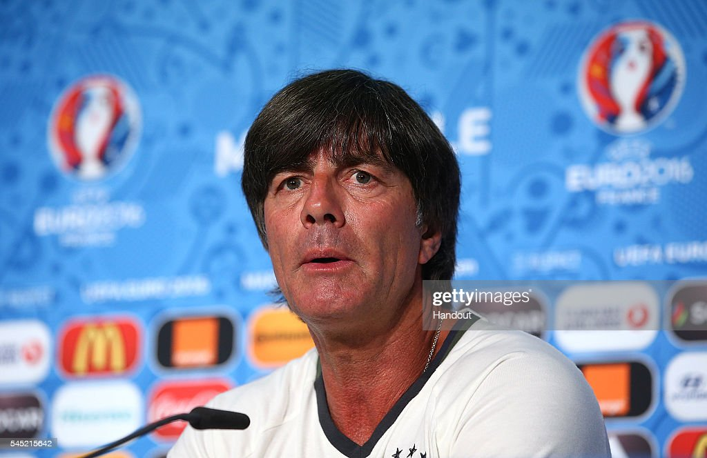 In this handout image provided by UEFA, head coach Joachim Loew faces the media during the Germany press conference at Stade Velodrome on July 6, 2016 in Marseille, France.