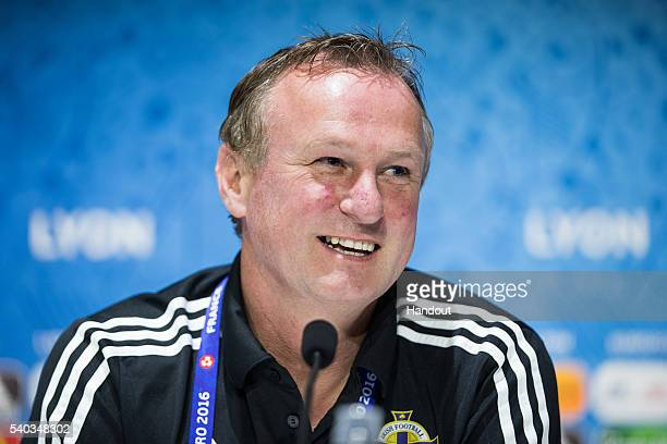 In this handout image provided by UEFA Head coach Michael O'Neill of Northern Ireland attends a press conference on June 15 2016 in DecinesCharpieu...