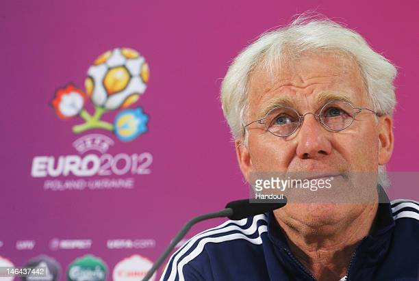 L'VIV UKRAINE JUNE 16 In this handout image provided by UEFA head coach Morten Olsen of Denmark talks to the media during a UEFA EURO 2012 press...