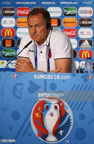 In this handout image provided by UEFA head coach of Albania Gianni De Biasi faces the media during the Albania Press Conference at Stade Velodrome...