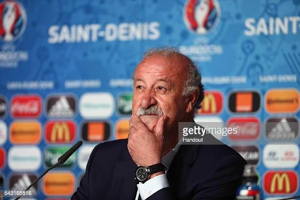 In this handout image provided by UEFA head coach Vicente del Bosque of Spain attends a press conference at Stade de France on June 26 2016 in Paris...