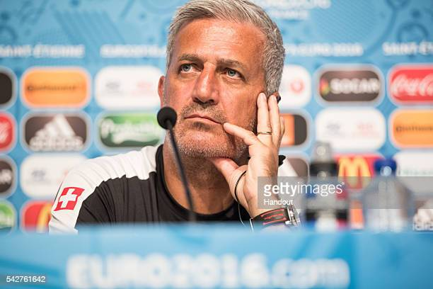 In this handout image provided by UEFA Head coach Vladimir Petkovic of Switzerland attends a press conference on June 21 2016 in SaintEtienne France