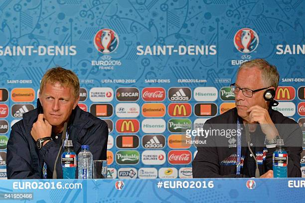 In this handout image provided by UEFA Iceland Coach Lars Lagerback and assistant coach Heimir Hallgrimsson address the press during a press...