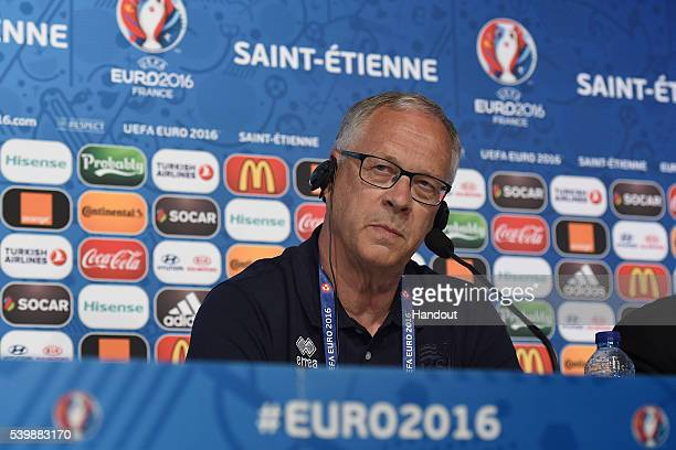 In this handout image provided by UEFA Iceland head coach Lars Lagerback faces the media during the Iceland press conference on June 13 2016 in...