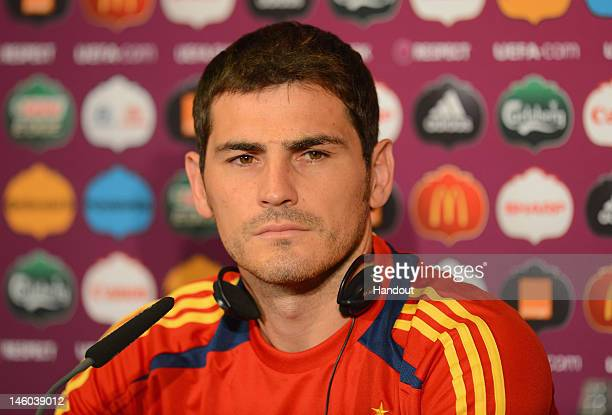 In this handout image provided by UEFA Iker Casillas of Spain talks to the media during a UEFA EURO 2012 press conference at the Municipal Stadium on...