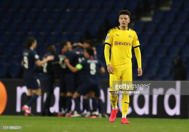 In this handout image provided by UEFA Jadon Sancho of Borussia Dortmund reacts to PSG scoring their second goal during the UEFA Champions League...