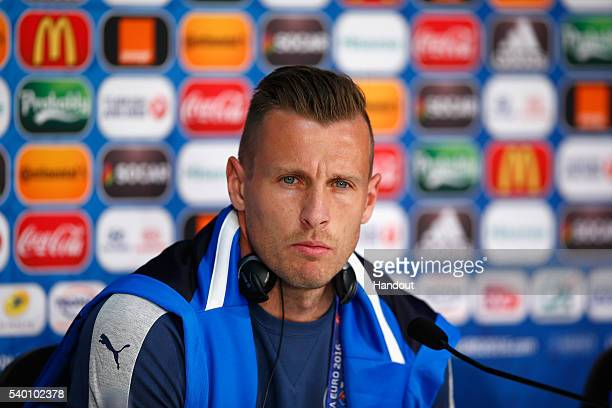 In this handout image provided by UEFA Jan Durica of Slovakia talks to the media during the Slovakia Press Conference at the Stade Pierre Mauroy on...